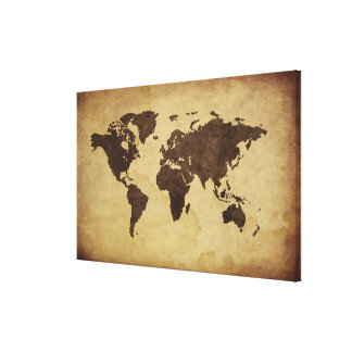 Close up of antique world map 4 canvas print
