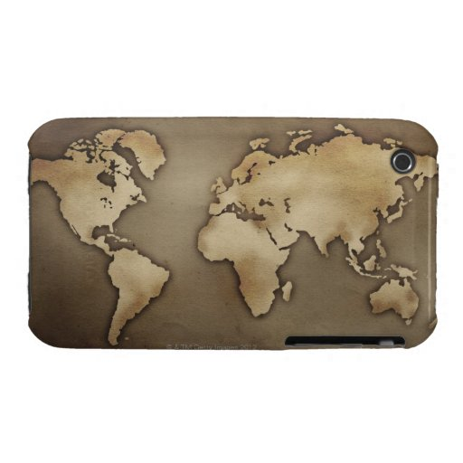 Close up of antique world map 4 iPhone 3 Case-Mate cases