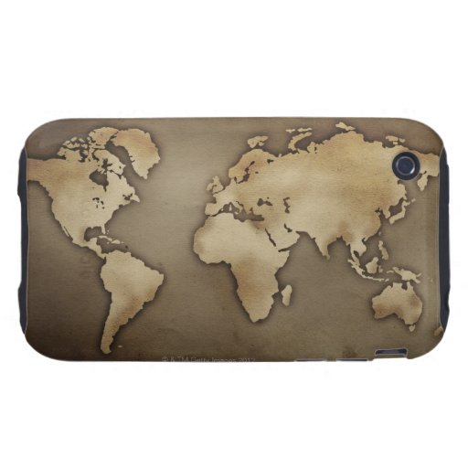 Close up of antique world map 4 tough iPhone 3 covers