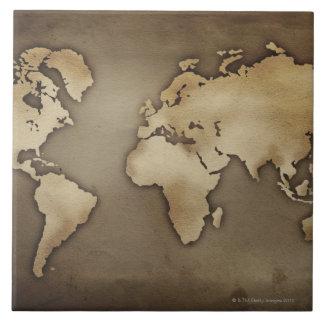 Close up of antique world map 4 ceramic tile