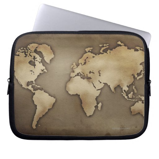 Close up of antique world map 4 computer sleeves