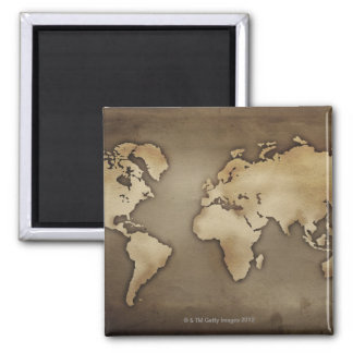 Close up of antique world map 4 magnet