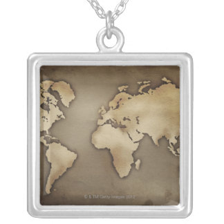 Close up of antique world map 4 custom jewelry