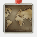 Close up of antique world map 4 ornament