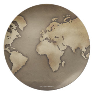Close up of antique world map 4 party plates