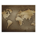 Close up of antique world map 4 posters