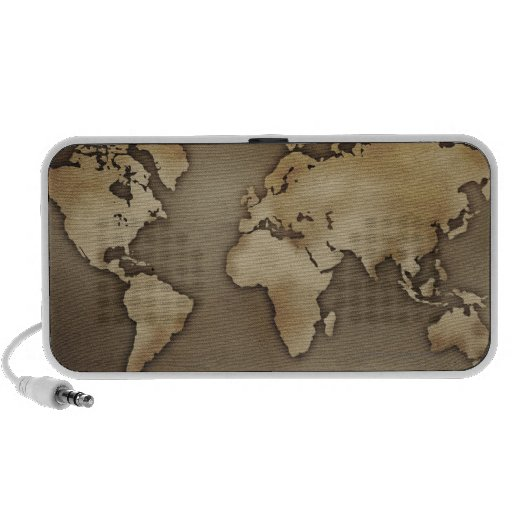 Close up of antique world map 4 iPod speakers