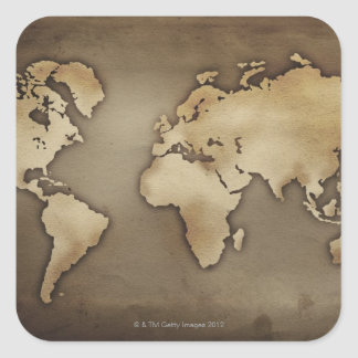 Close up of antique world map 4 square sticker