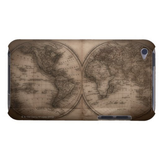 Close up of antique world map 5 iPod touch cover