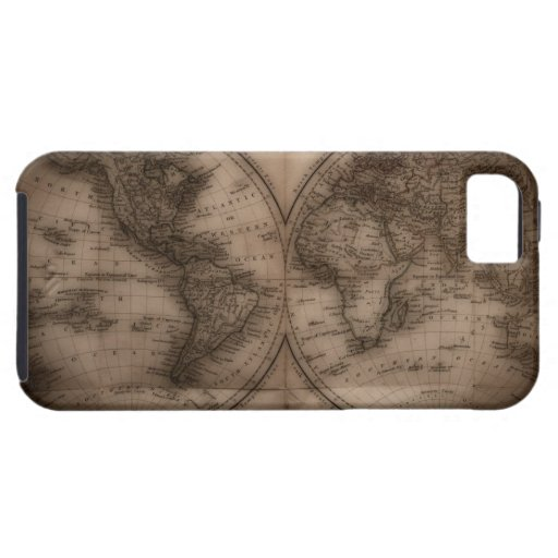 Close up of antique world map 5 iPhone 5 case