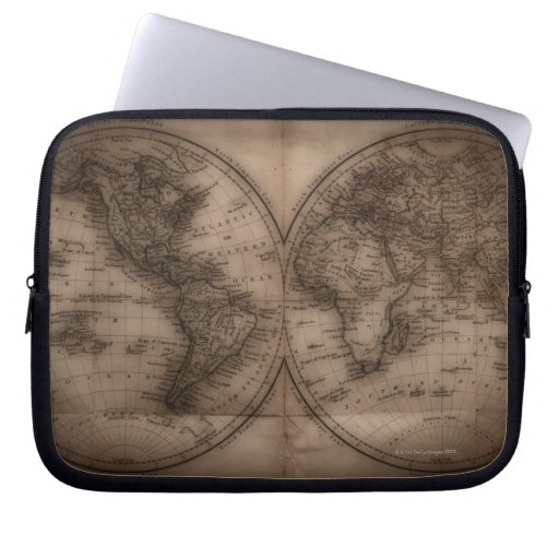 Close up of antique world map 5 laptop sleeves