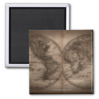 Close up of antique world map 5 magnet