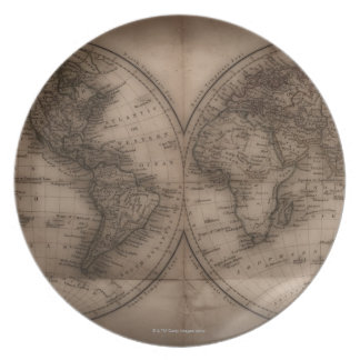 Close up of antique world map 5 dinner plate
