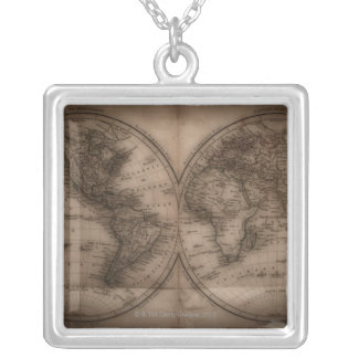 Close up of antique world map 5 square pendant necklace