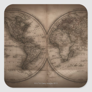 Close up of antique world map 5 square sticker