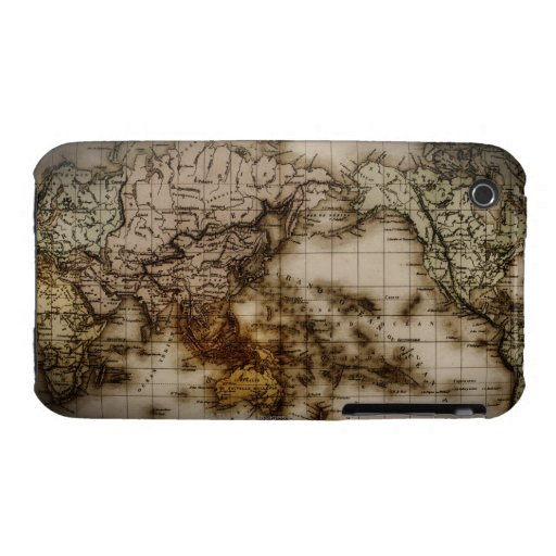 Close up of antique world map 6 iPhone 3 cases