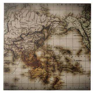 Close up of antique world map 6 ceramic tile