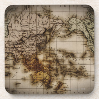 Close up of antique world map 6 beverage coasters
