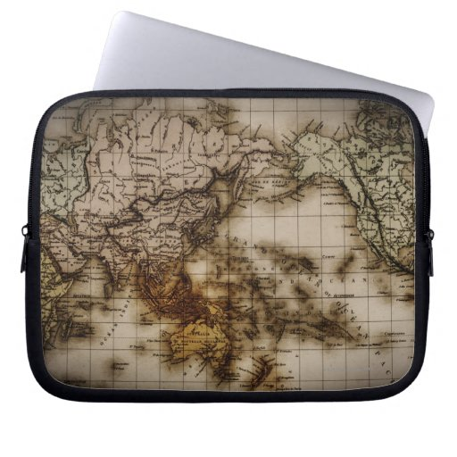 Close up of antique world map 6 computer sleeve