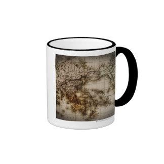 Close up of antique world map 6 coffee mugs