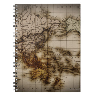 Close up of antique world map 6 note books