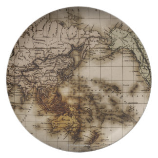 Close up of antique world map 6 plate