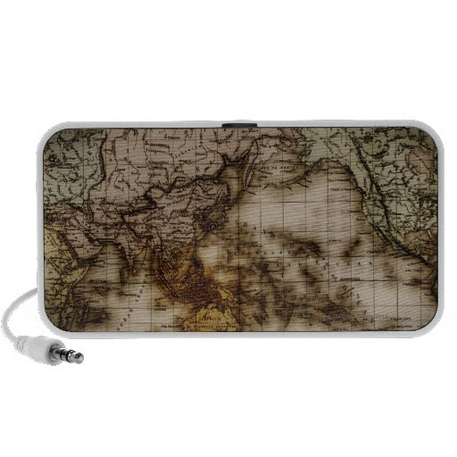Close up of antique world map 6 speakers
