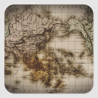 Close up of antique world map 6 square sticker