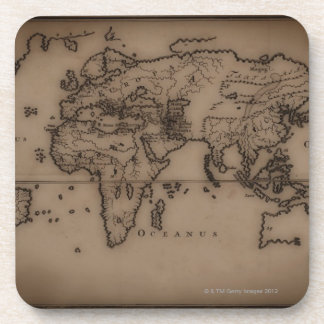 Close up of antique world map 7 coasters