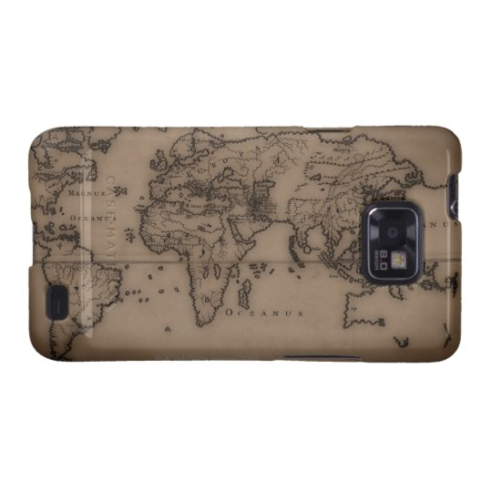 Close up of antique world map 7 galaxy SII case