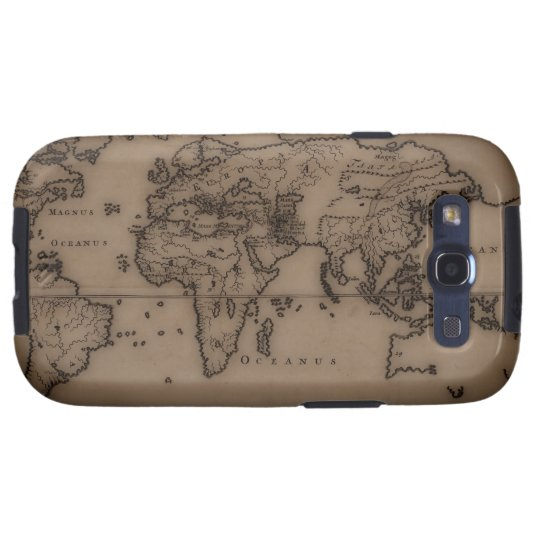Close up of antique world map 7 galaxy SIII cover