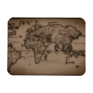 Close up of antique world map 7 magnet