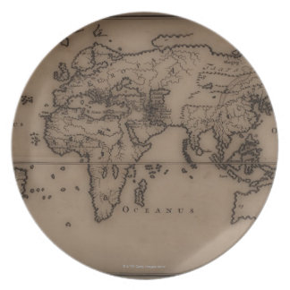 Close up of antique world map 7 melamine plate