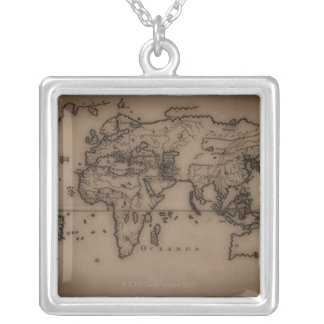 Close up of antique world map 7 custom necklace
