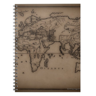 Close up of antique world map 7 spiral note book