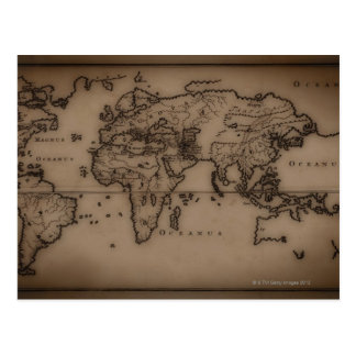Close up of antique world map 7 postcard