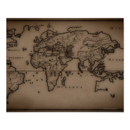 Close up of antique world map 7 poster