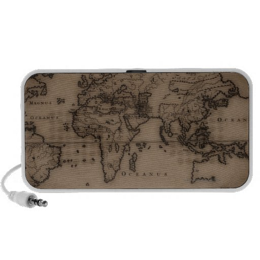Close up of antique world map 7 travel speakers