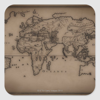 Close up of antique world map 7 square sticker