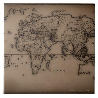 Close up of antique world map 7 tile