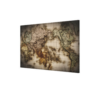Close up of antique world map stretched canvas prints