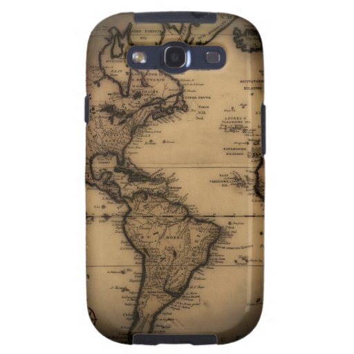 Close up of antique world map galaxy SIII covers