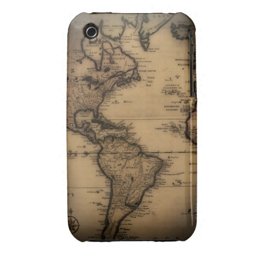 Close up of antique world map iPhone 3 Case-Mate cases