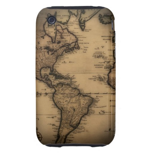 Close up of antique world map tough iPhone 3 cases