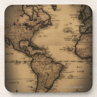 Close up of antique world map beverage coaster