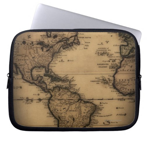 Close up of antique world map laptop sleeves