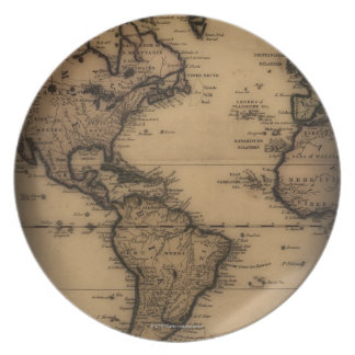 Close up of antique world map party plates
