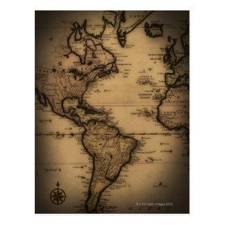 Close up of antique world map postcard
