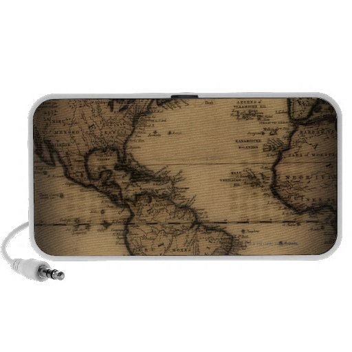 Close up of antique world map iPhone speakers