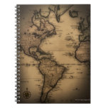 Close up of antique world map spiral notebook